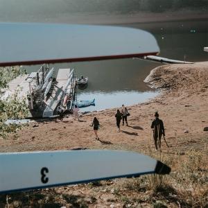 Students at a lake