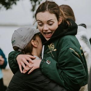 Claire Wilson picks up Mia Twinam before the post regatta breakfast
