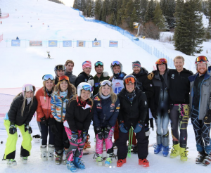 Photo of alpine ski club participants on the base of the mountain