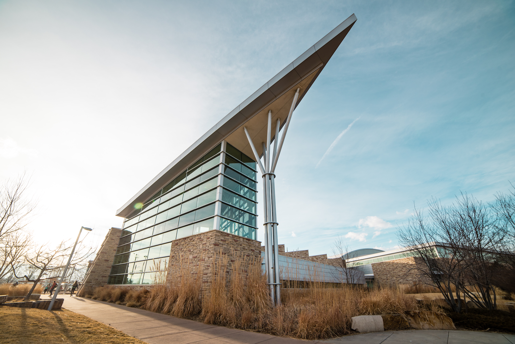 Outdoor photo of the eastern side of the Campus Recreation Center.