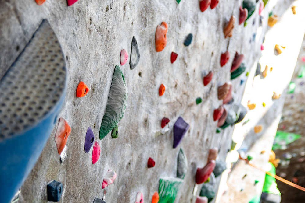 A photo of the climbing wall within the CSU rec center