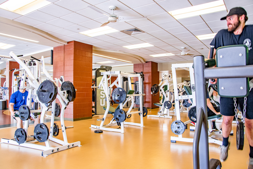 A photo of upstairs weight room facilities.