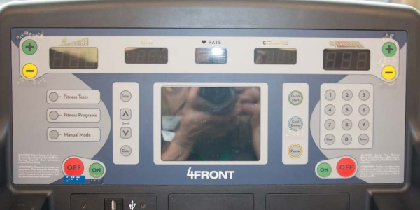 Photo of a Braille upright treadmill.