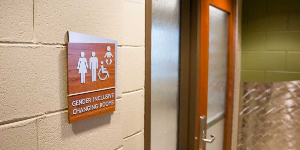 A photo of the entrance to a gender inclusive changing room.