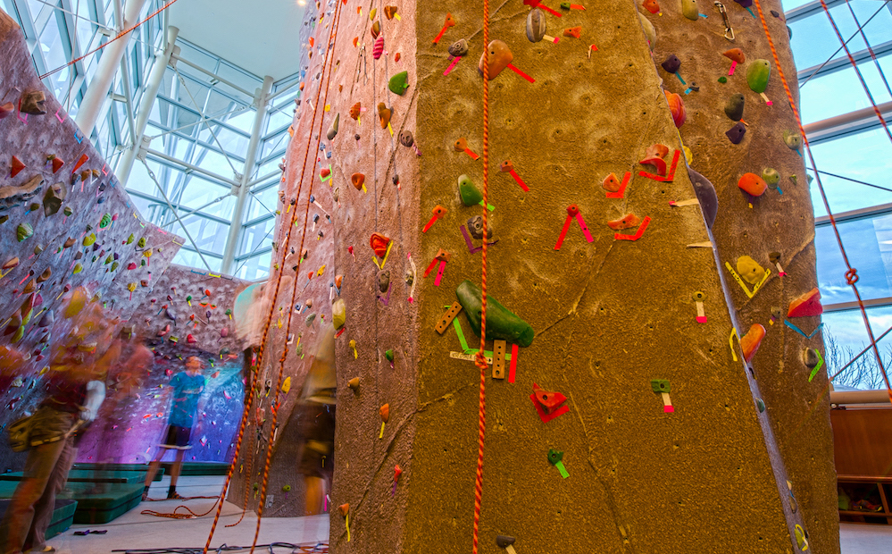 A photo of the Climbing Wall within the Student Recreation Center