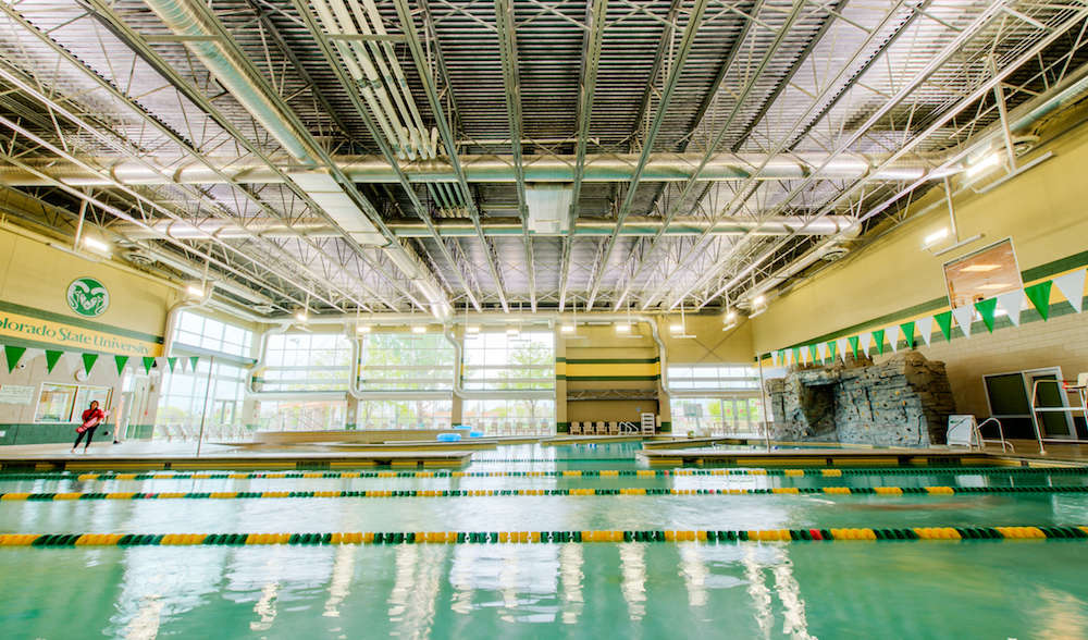 A photo of the pool inside the rec center.
