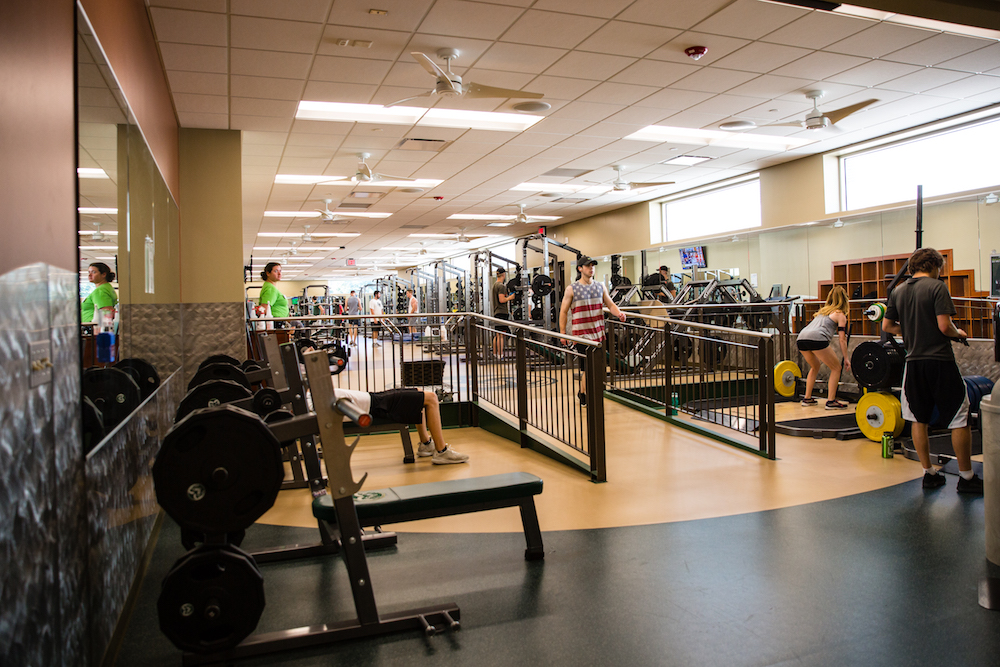 Participants lift in our newest facility area.
