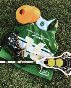 Photo of women's lacrosse gear on the IM fields.