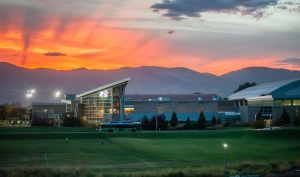 A photo of the Rec Center at CSU at dusk.