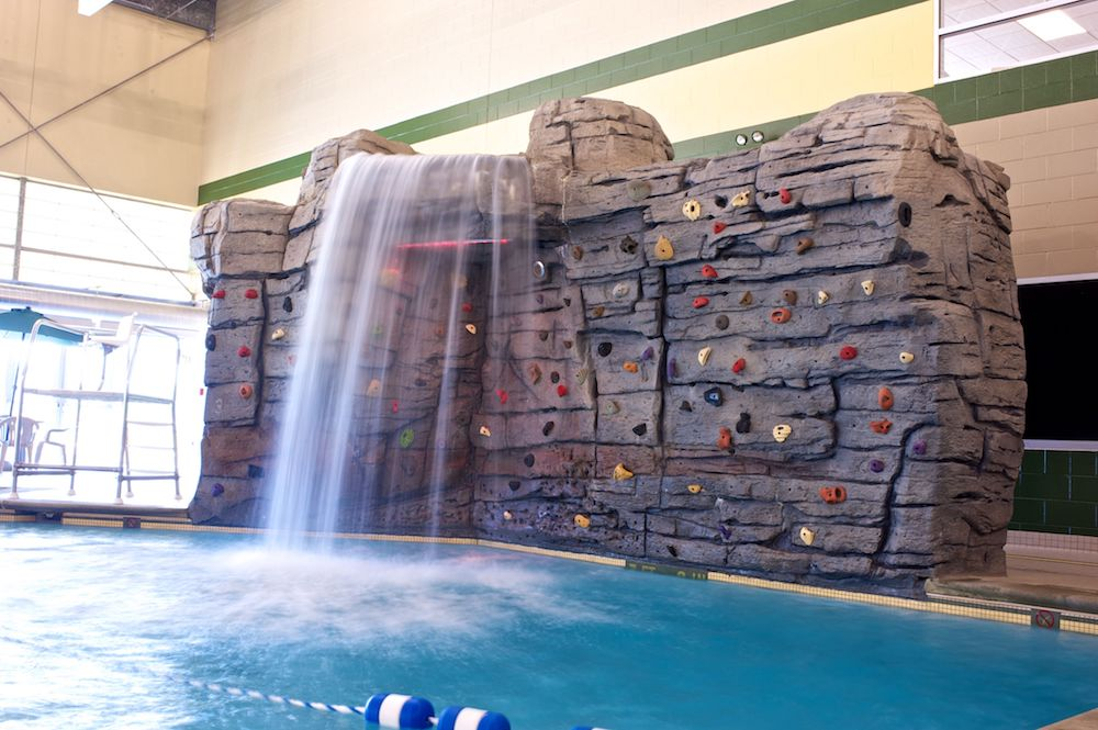A photo of the pool rock wall at Campus Rec.