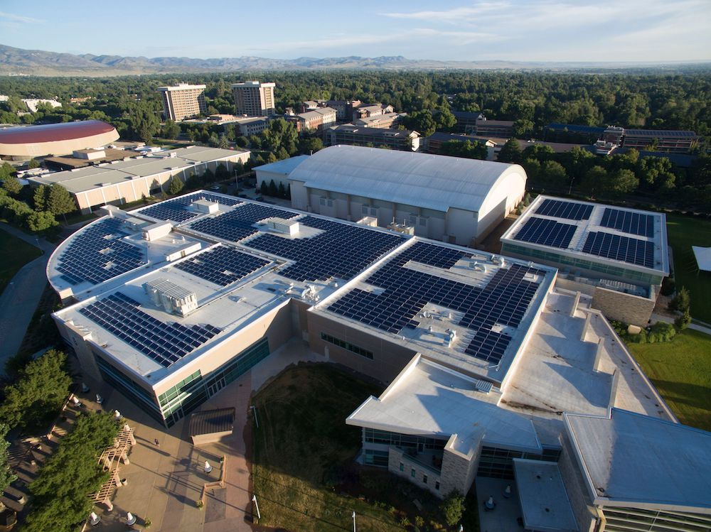 An arial view of our solar panel installation on the roof of the rec center.