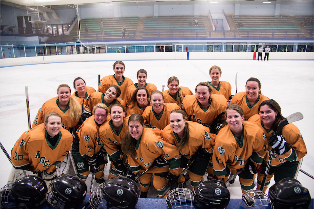 group photo of fall 2018 women's ice hockey team in uniform in front of ice rink