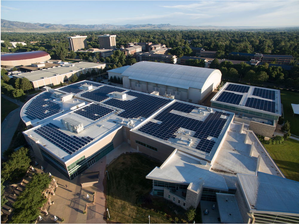Aerial view of solar panels on Rec center and surrounding buildings on CSU campus.