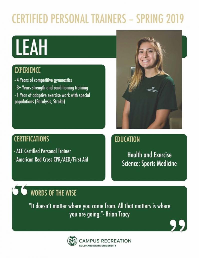 PT Bio for Leah.