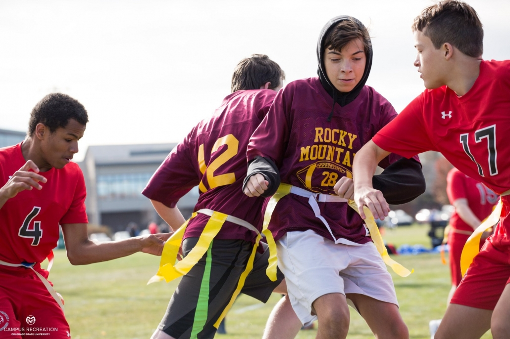 Athletes competing in Special Olympics Unified State Flag Football tournament