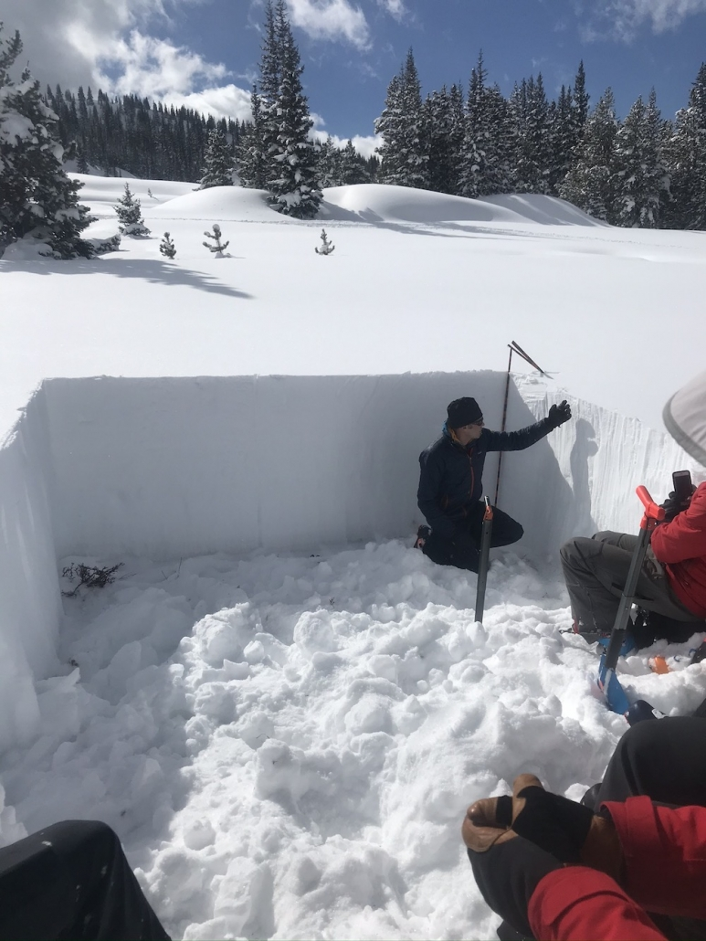 Participant digging snow during an avalanche clinic
