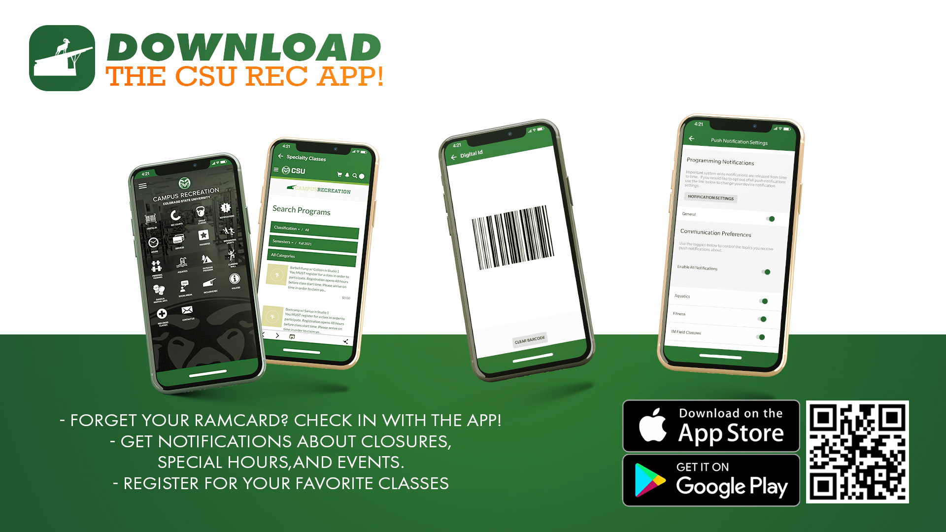 Examples of the CSU Rec App on 4 different phones
