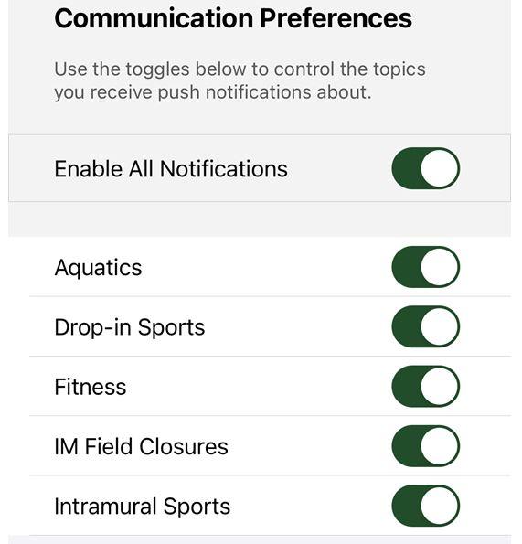 notifications list